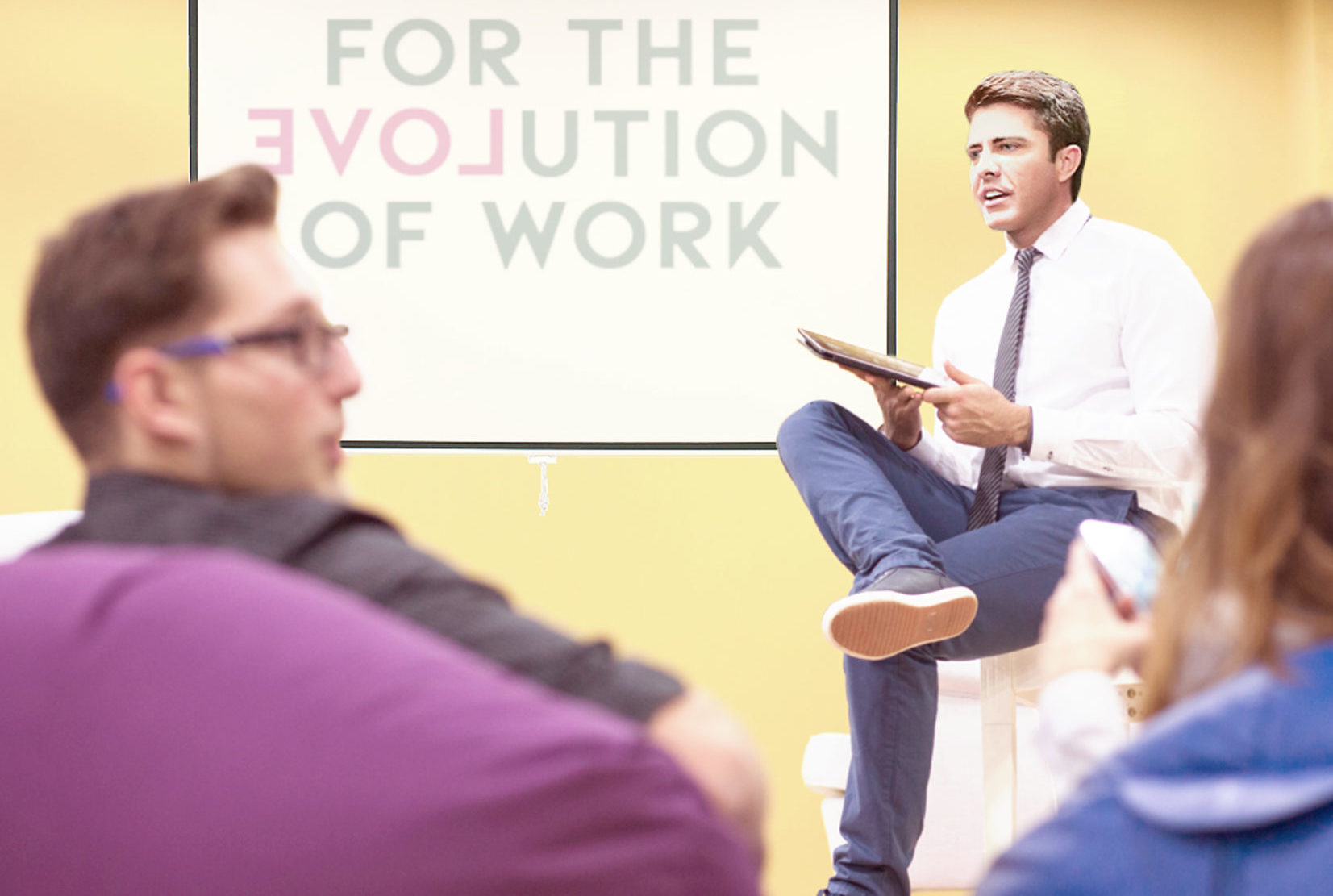 Man Meeting With Other People Talking About Work
